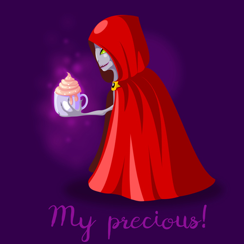 Monster with green eyes in red cloak with hood loves ice cream.