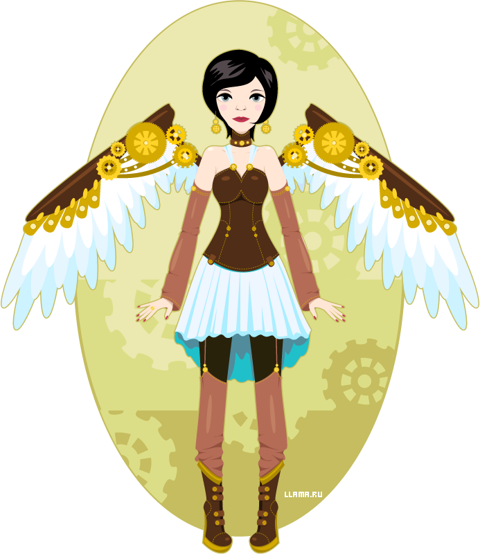 Steampunk. The girl-angel with mechanical wings. Vector.