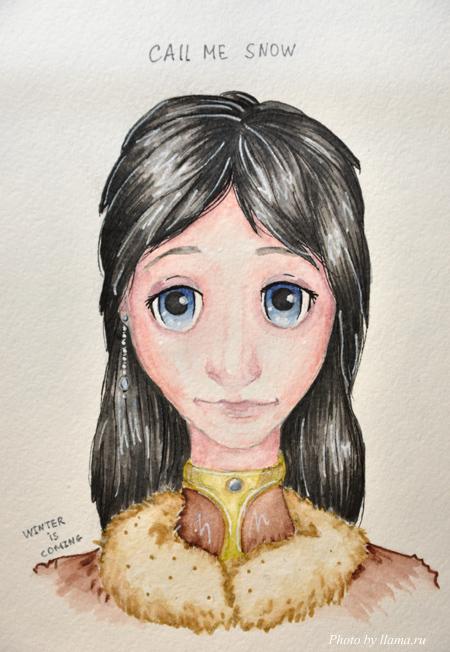 Девушка акварель